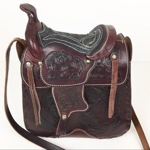 Vintage Saddle Bag Hand Tooled Mexico Western 70s